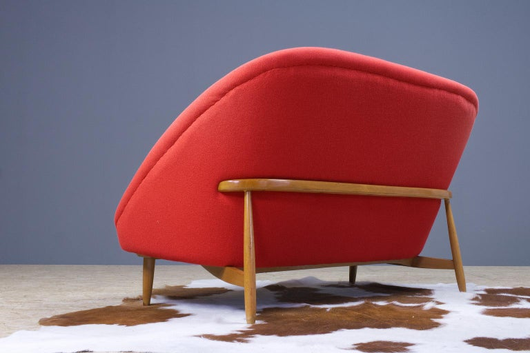 Dutch Theo Ruth Sofa or Love Seat in Red for Artifort, Model 115, 1970s For Sale