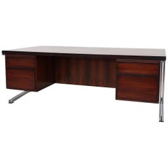 "Theo Tempelman for ""A.P Originals"" Large Rosewood Desk with Chrome Frame"