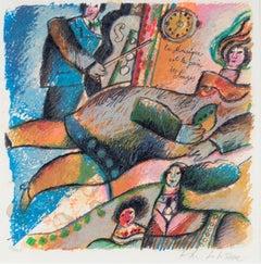 """""""La Musique est le Pain des Anges,"""" Color Lithograph signed by Theo Tobiasse"""