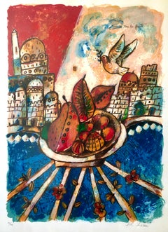 Large French Judaica Lithograph Colorful Jewish Jerusalem Hebrew