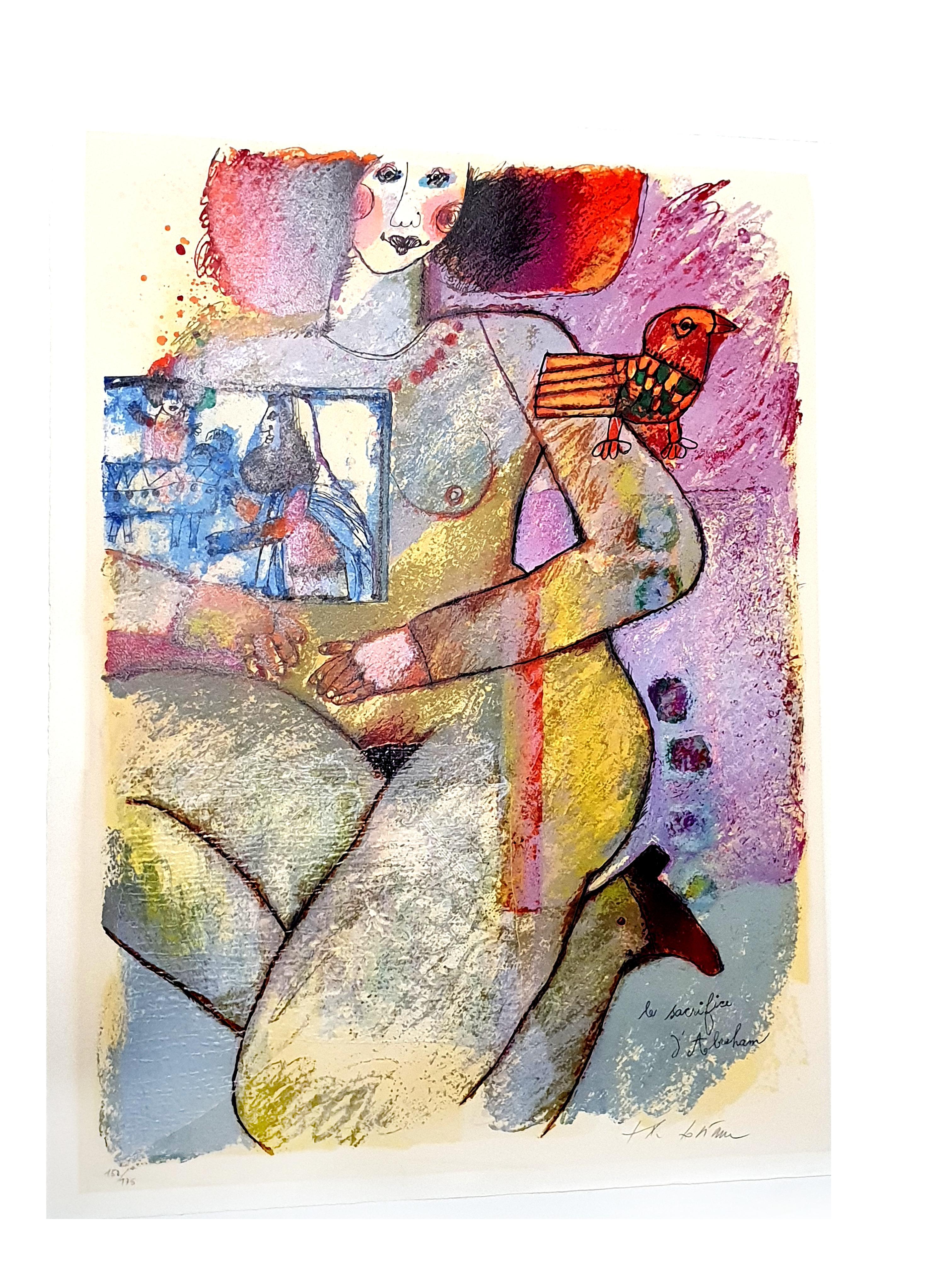 Théo Tobiasse - Abraham Sacrifice - Original Lithograph with collage
