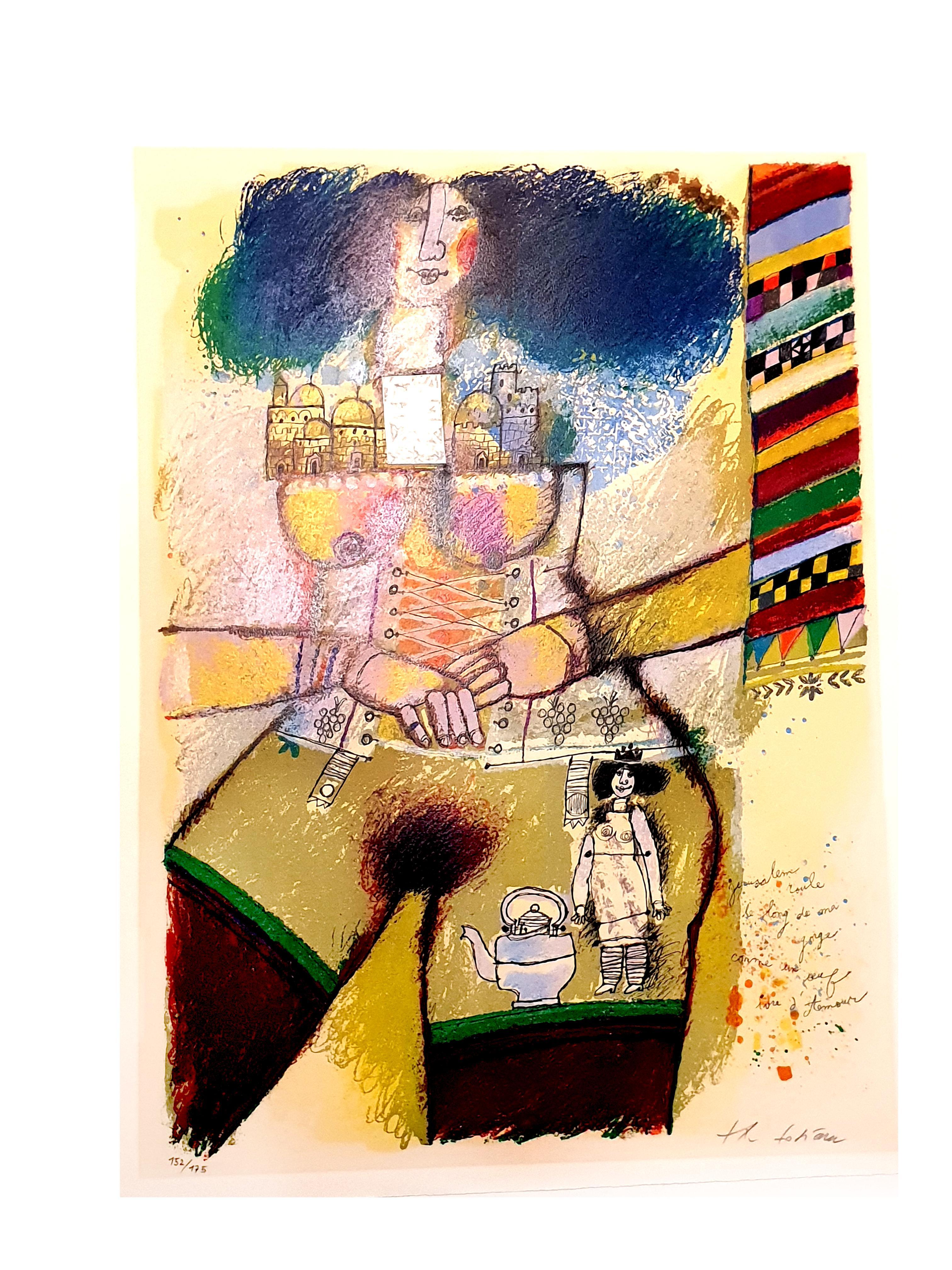 Théo Tobiasse - Jerusalem Inside - Original Lithograph with Collage