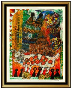 Theo Tobiasse Large Color Lithograph HAND SIGNED Modern Cubism Artwork Framed