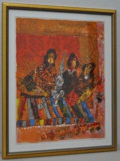 """Theo Tobiasse """"Le Petit Train qui mene au chant de la pensee"""" Lithograph c.1970"""