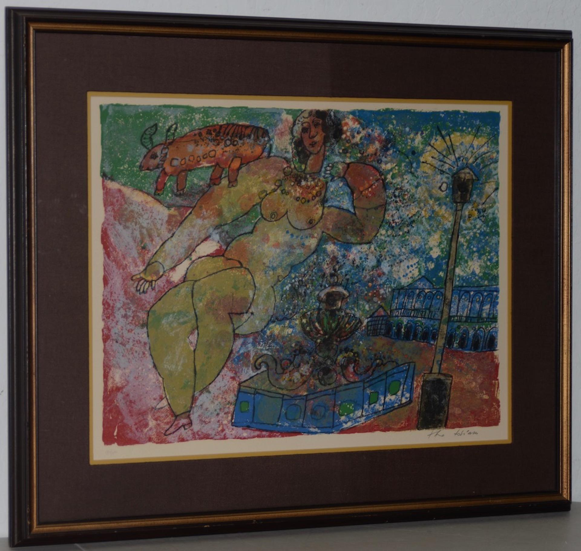"""Theo Tobiasse """"Woman"""" Original Color Lithograph Signed / Numbered c.1960s"""