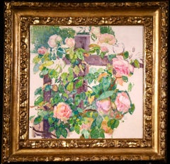 Pink Roses - Neo-Impressionist Oil, Flowers in Garden by Theo van Rysselberghe