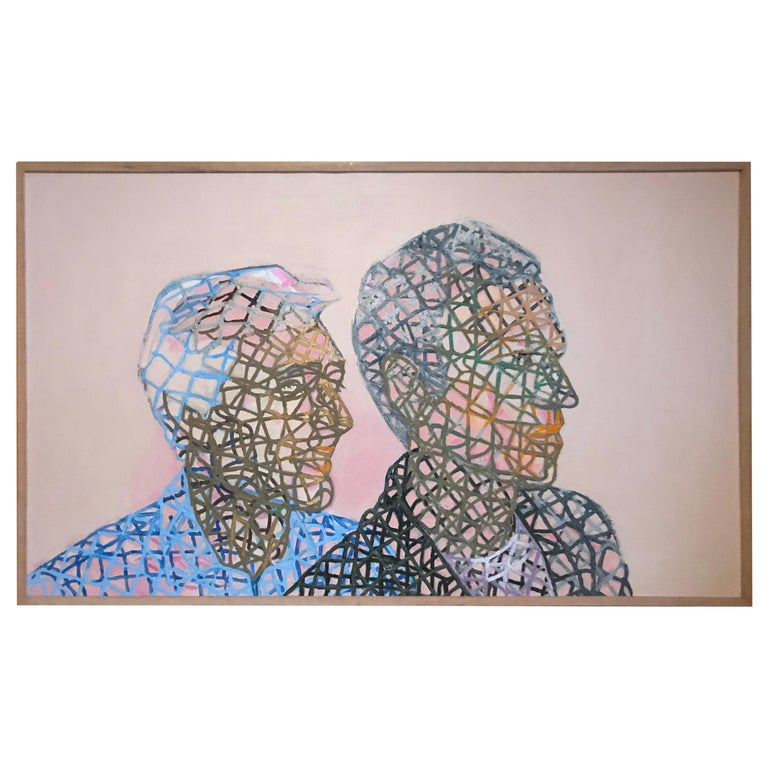 "Theo Wujcik ""Entrepreneur"", 1984"" Oil Painting on Canvas For Sale"