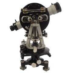 Theodolite Carl Zeiss 1920s Light Gray and Black Painted Brass