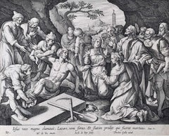 Theodoor Galle Martin de Vos 17th Century engraving Jesus Raises Lazarus