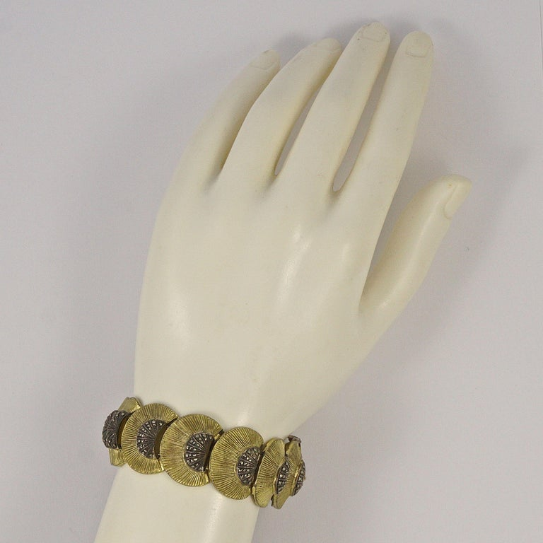 Art Deco Theodor Fahrner Sterling Silver Gilt and Marcasite Link Bracelet In Good Condition For Sale In London, GB