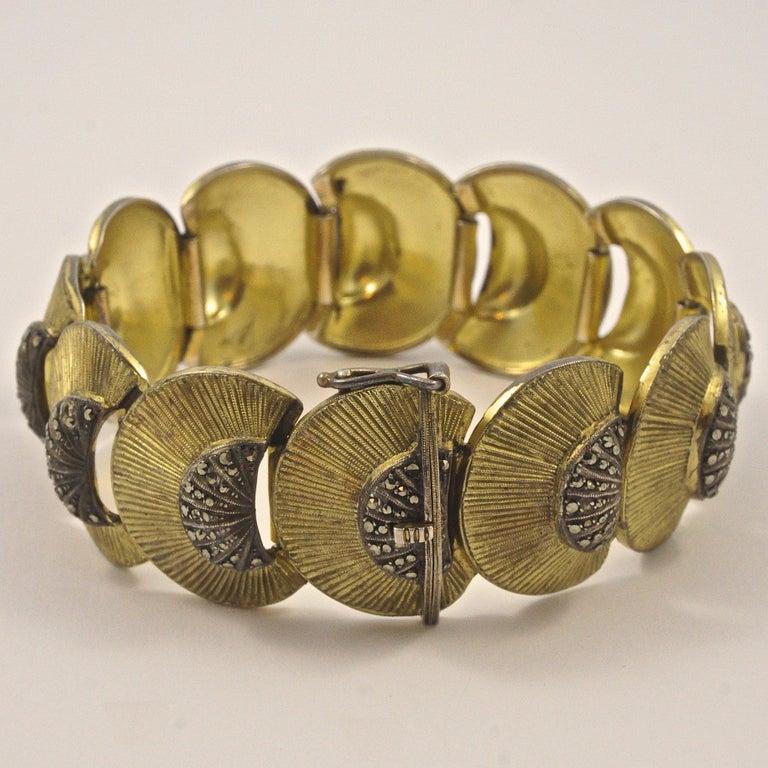 Round Cut Art Deco Theodor Fahrner Sterling Silver Gilt and Marcasite Link Bracelet For Sale