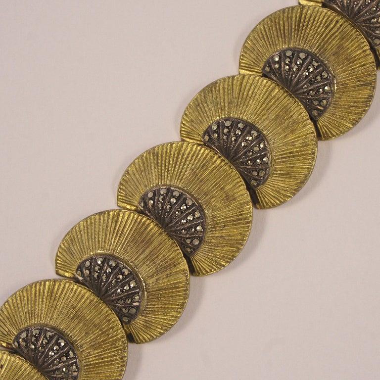 Women's or Men's Art Deco Theodor Fahrner Sterling Silver Gilt and Marcasite Link Bracelet For Sale