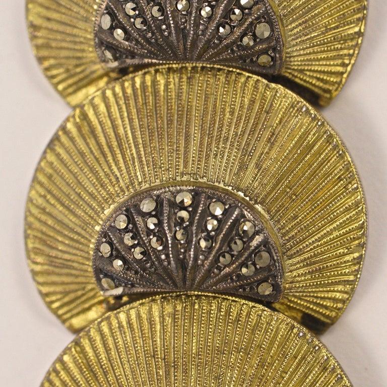 Art Deco Theodor Fahrner Sterling Silver Gilt and Marcasite Link Bracelet For Sale 1
