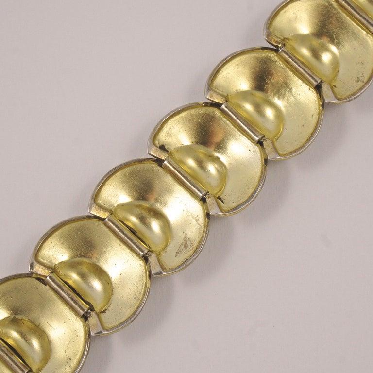 Art Deco Theodor Fahrner Sterling Silver Gilt and Marcasite Link Bracelet For Sale 4