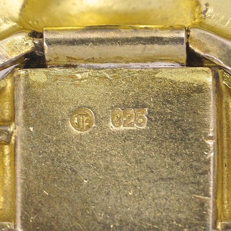 Art Deco Theodor Fahrner Sterling Silver Gilt and Marcasite Link Bracelet For Sale 5