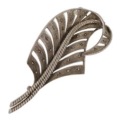 Theodor Fahrner Sterling Silver and Marcasite Leaf Brooch