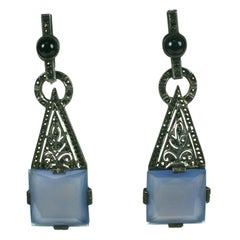 Theodor Farhner Art Deco Chalcedony and Marcasite Earrings