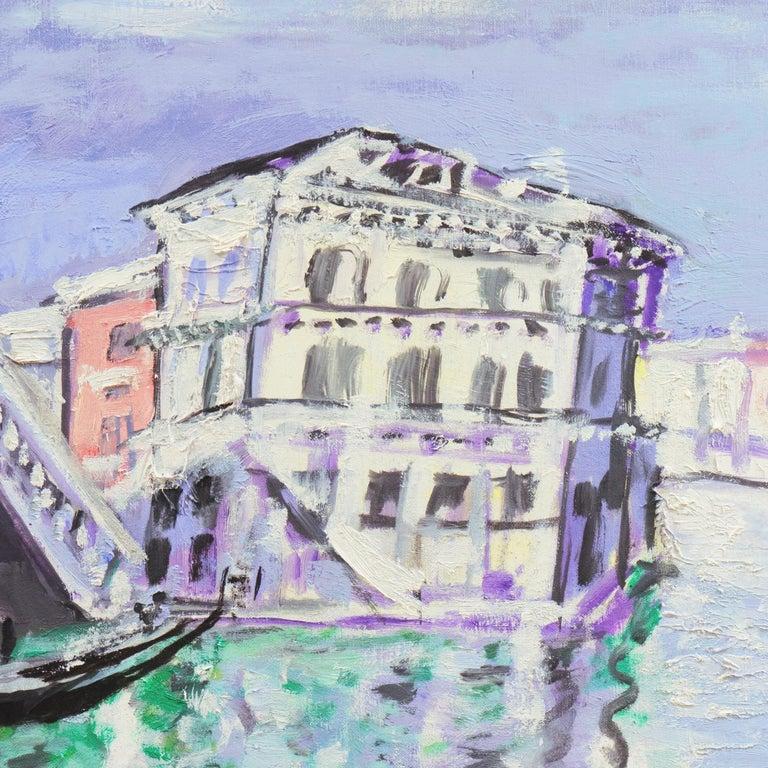 'Venice, the Grand Canal and Rialto Bridge', Danish Post-Impressionist oil For Sale 1