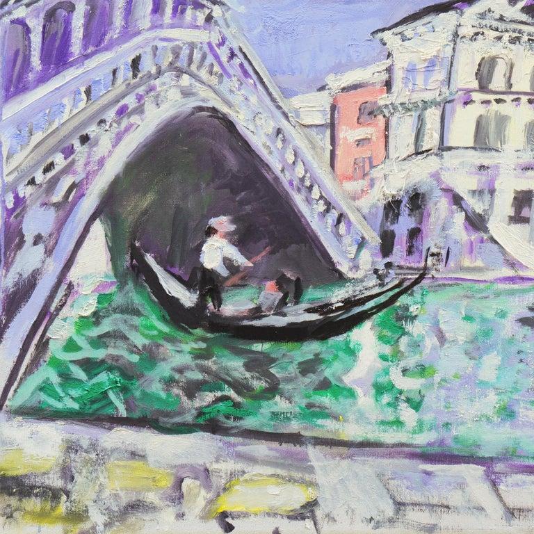 'Venice, the Grand Canal and Rialto Bridge', Danish Post-Impressionist oil For Sale 2