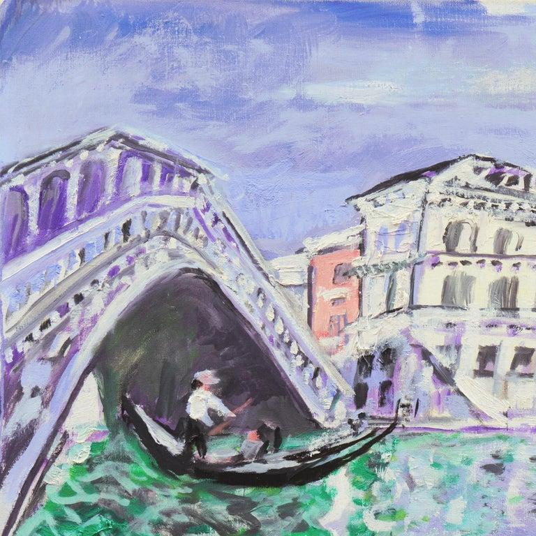 'Venice, the Grand Canal and Rialto Bridge', Danish Post-Impressionist oil For Sale 3