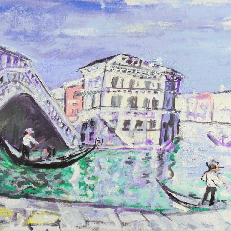 'Venice, the Grand Canal and Rialto Bridge', Danish Post-Impressionist oil For Sale 4