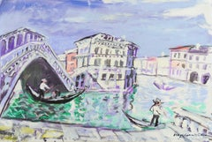 Large Post-Impressionist oil of The Grand  Canal and the Rialto Bridge, Venice