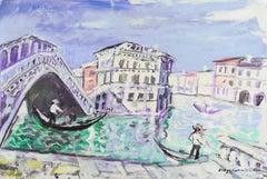 'Venice, the Grand Canal and Rialto Bridge', Danish Post-Impressionist oil