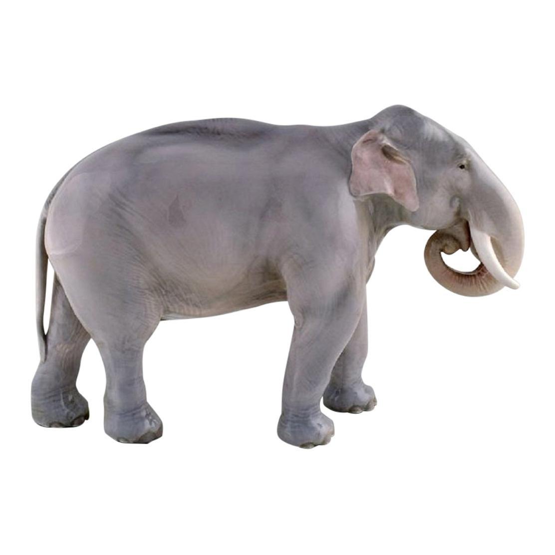 Theodor Madsen for Royal Copenhagen, Rare Porcelain Figurine, Colossal Elephant