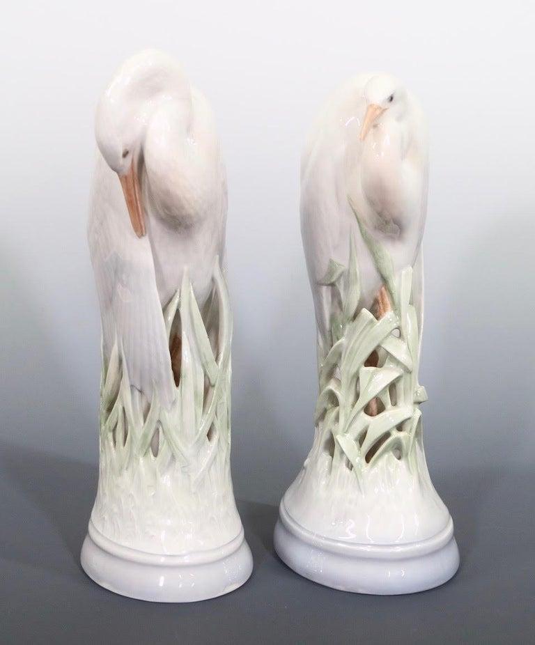 Theodor Madsen for Royal Copenhagen Swedish Art Deco Porcelain Cranes or Herons For Sale 1
