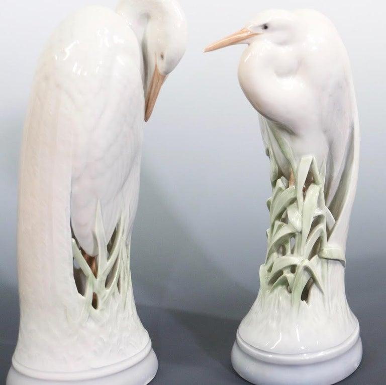 Theodor Madsen for Royal Copenhagen Swedish Art Deco Porcelain Cranes or Herons For Sale 2