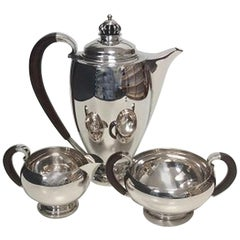 Theodor Sabroe Art Deco Danish Silver Coffee Set with Pot, Creamer & Sugar Bowl