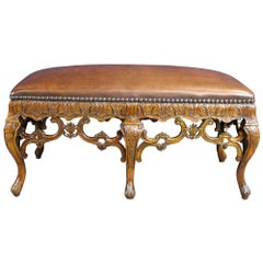 Theodore Alexander Baroque Rococo Style Carved Mahogany Nailhead Leather Bench