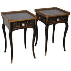 Theodore Alexander Black Lacquered French Empire Side Tables Hand Painted, Pair