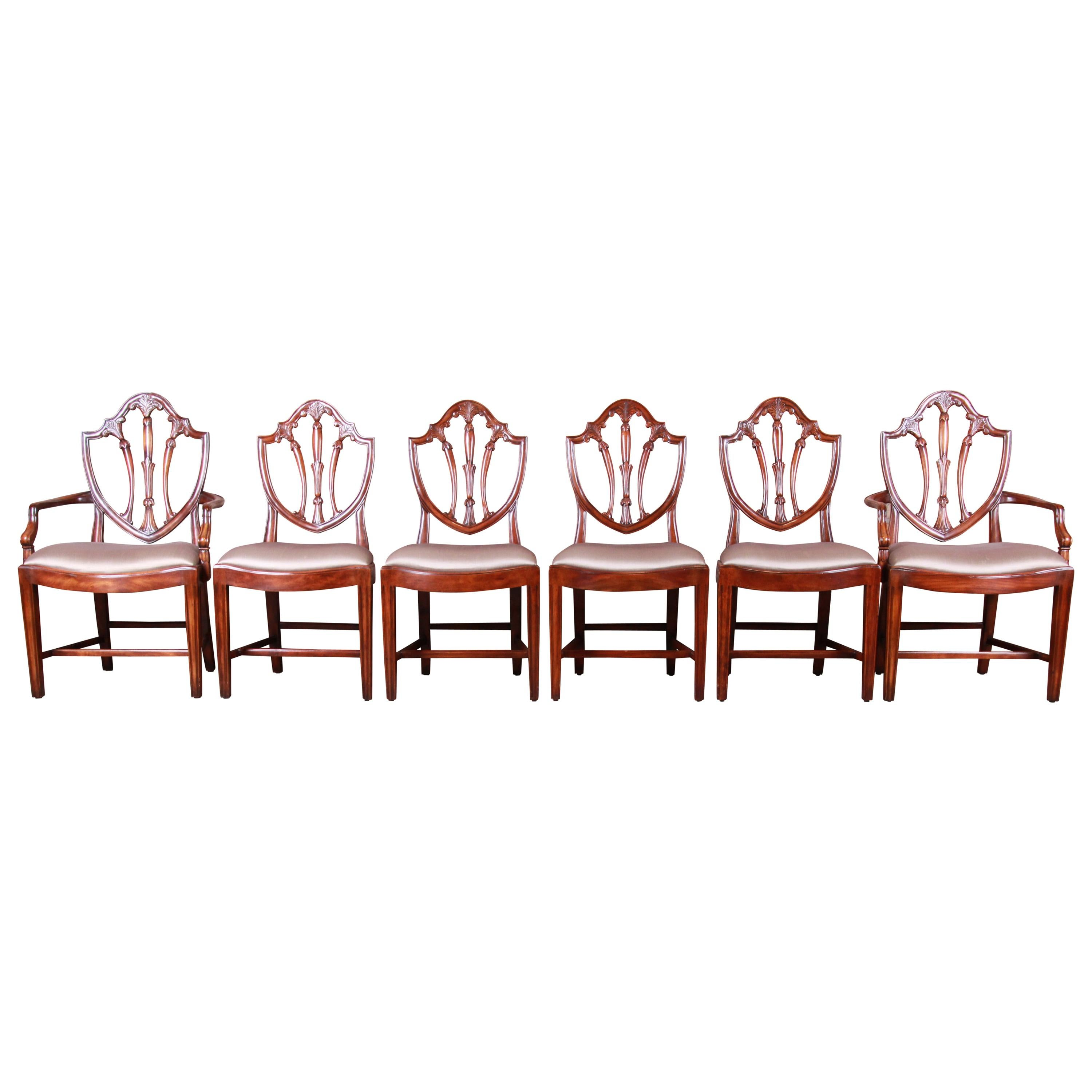 Theodore Alexander Carved Mahogany Shield Back Dining Chairs, Set of Six