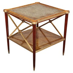 Theodore Alexander Directoire Style Mahogany and Bronze Eglimsoe Mirrored Table