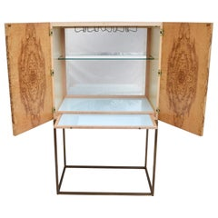 Theodore Alexander Keno Bros, Collection Burl and Brass Bar Cabinet