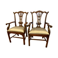 Theodore Alexander Mrs. Chippendale Armchairs Pair of Carved Mahogany