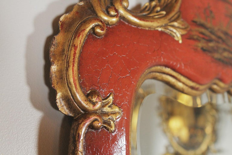 Theodore Alexander Red Lacquer and Gilt Chinoiserie Mirror In Excellent Condition For Sale In Lambertville, NJ