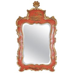 Theodore Alexander Red Lacquer and Gilt Chinoiserie Mirror