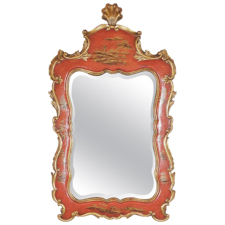 Theodore Alexander Red Lacquer and Gilt Chinoiserie Mirror For Sale