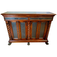 Theodore Alexander Signed Mahogany Claw Feet Credenza Bar Console Sideboard