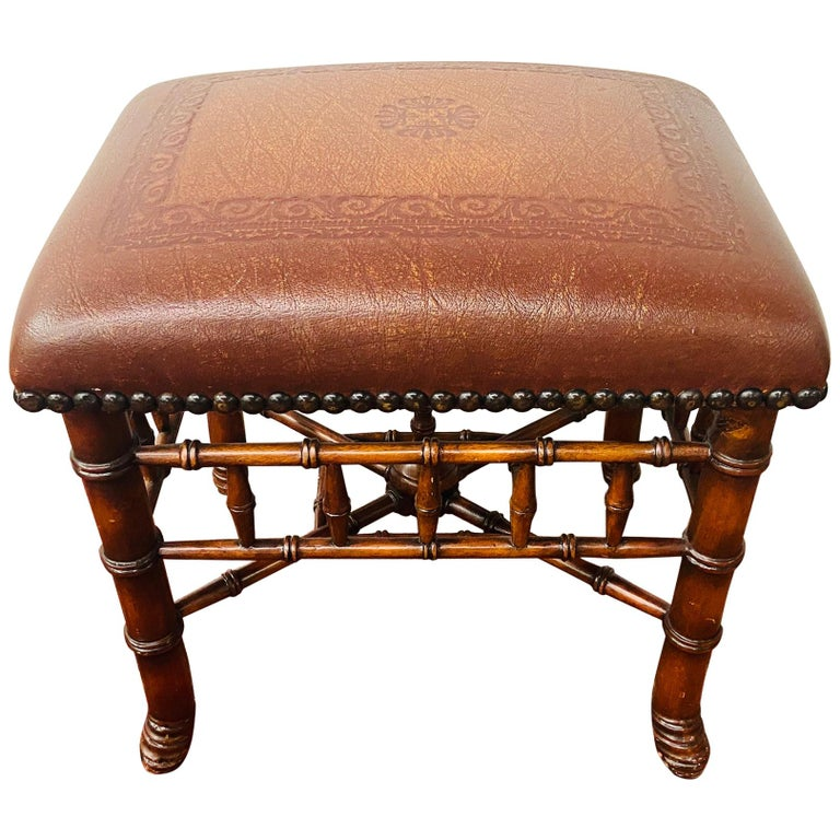 Theodore Alexander Stool or Ottoman Bamboo Base Legs and Leather Seat