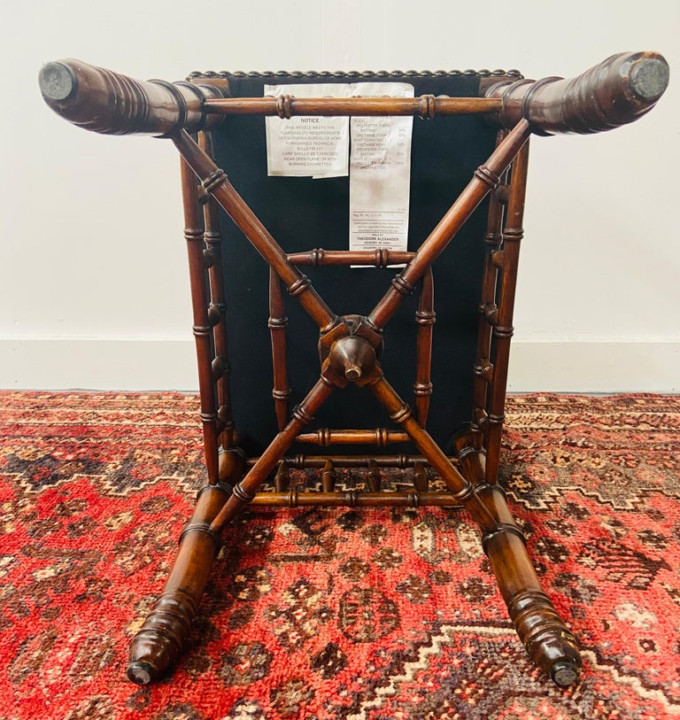 Theodore Alexander Stool or Ottoman Bamboo Base Legs and Leather Seat 4