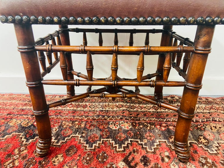 Late 20th Century Theodore Alexander Stool or Ottoman Bamboo Base Legs and Leather Seat