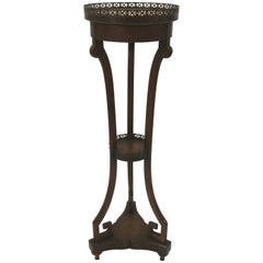 Theodore Alexander Tooled Leather Marble and Mahogany Stand