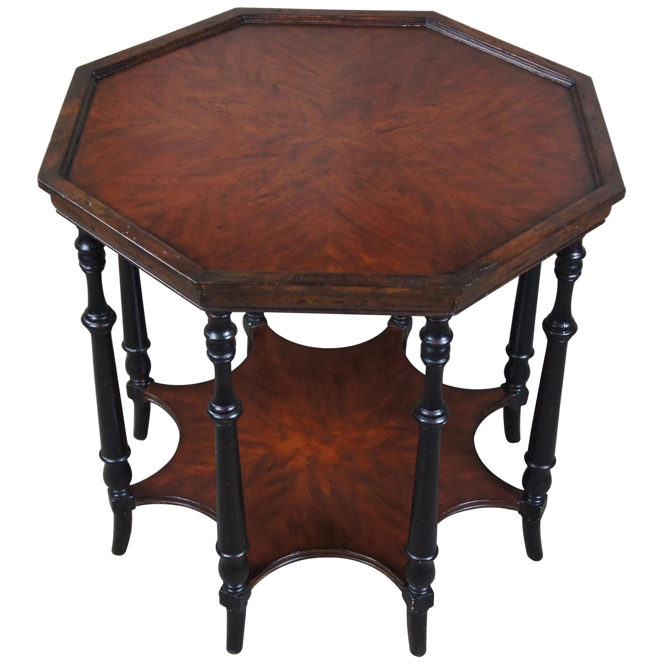 Theodore Alexander Traditional Walnut 2-Tier Octagon Center Accent Spider Table