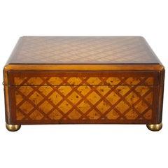 Theodore Alexander Walnut Olive Burl Parquetry Trinket Jewelry Keepsake Box