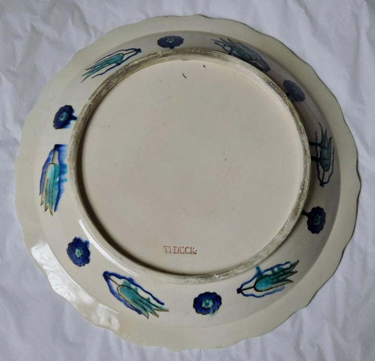 Théodore Deck, a Fretted Enameled Faience Impressive Iznik Charger For Sale 4