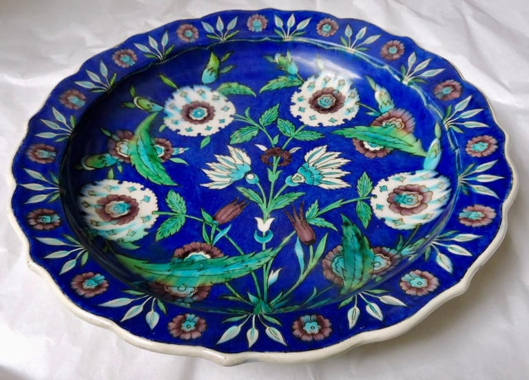 Islamic Théodore Deck, a Fretted Enameled Faience Impressive Iznik Charger For Sale