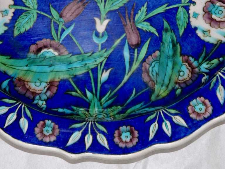 Théodore Deck, a Fretted Enameled Faience Impressive Iznik Charger In Good Condition For Sale In Saint-Ouen, FR